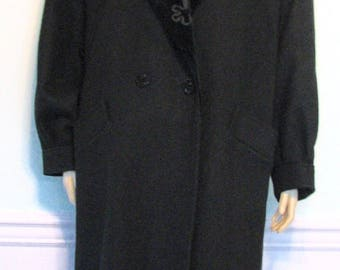 1980s Coat Velvet Wool Black Lady Suzette Large Tall Soutache Winter Warm