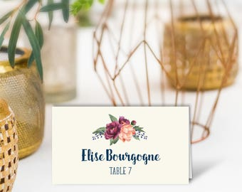 Floral Wedding Place Cards / Burgundy Peony Berry Bouquet, Peach Blush Ranunculus, Fall Wedding / PRINTED Name Card, Tent Card, Food Label