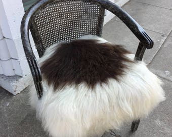 Restored New Zealand Sheepskin Wool upholstered Cane Back Armchair with Customized Finish