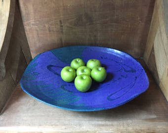 """Large Studio Pottery Modernist Hand Made Serving Platter 19"""" wide Signed"""