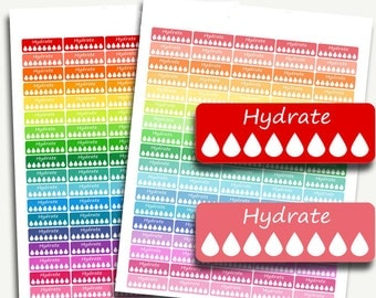 Hydrate planner stickers, water intake planner stickers, fitness planner stickers, hydration planner stickers, hydrate stickers for planner