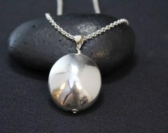 Bold Sterling Silver Modernist Oval Necklace, Bold Sterling Necklace, Modernist Sterling Pendant, Modern Sterling Silver Necklace