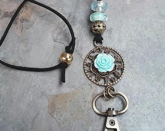 Black and Aqua Lanyard ID Badge Holder, Name Badge Holder, Name Badge Necklace, Key Holder, ID Holder, Faux Suede Lanyard, Australian Made,