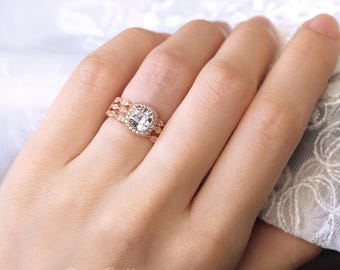 2.92 ct.tw Art Deco Bridal Ring-Halo Engagement Ring W/ All or Half Eternity band-Cushion Cut-Rose Gold Plated-Sterling Silver [6153RG-3]