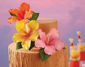 """3.5"""" Gumpaste Hibiscus Leaves - SET OF 3 - Hawaiian Flowers Floral"""
