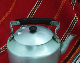 Aluminium Kettle,Rustic Kitchen Kettle, Old Metal Teapot,Vintage Kettle, Wood Stove Kettle,Large Kettle,Old Kettle