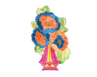 Antique Silk Flower Vase Patch Embroidery Applique Patches Antique Flower Patch Applique 1935 Nr 1