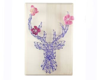 DIY kit deer design - Nursery decor - String art kit- Nursery wall art - kid room - birthday gift  - Deer pattern