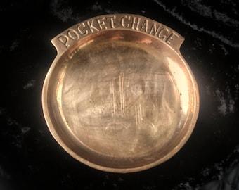 Monogrammed Pocket Change Dish ~ Brass Change Dish ~ Trinket Dish ~ Jewelry Tray ~ Key Dish ~ Catchall
