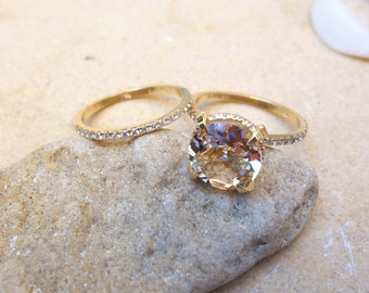 Unique engagement ring yellow Gold Morganite Engagement Ring Diamonds Wedding Ring Set Bridal engagement ring promise ring rose gold Unique