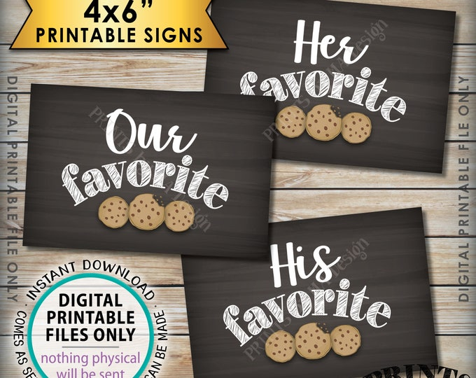 """Cookie Bar Signs, His Favorite Her Favorite Our Sweet Treats Dessert Bar, 3 Chalkboard Style PRINTABLE 4x6"""" Instant Download Wedding Signs"""