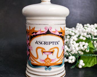 "Vintage Porcelain Apothecary Jar ""Ascriptin"": Art Deco Inspired Painted Pharmacy Display Jar"