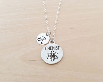 Chemist Charm - Personalized Custom Initial Necklace - Silver Necklace - Initial Jewelry - Monogram Necklace - Gift for Her