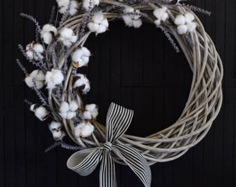 Southern Charm Cotton and Lavender Farmhouse Style Willow Wreath - 24 inch diameter