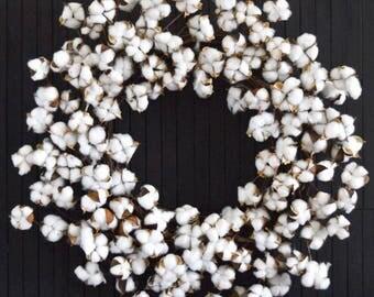 Cotton Wreath, Wreath for Front Door, Everyday Wreath, Door Decor, Farmhouse Decor, Fireplace Wreath, XL Wreath