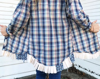 Blue & White Check - Lace Trim Pearl Snap - REVAMP - Pearl Snap Shirt - Size SMALL