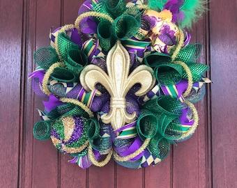 Mardi Gras Fleur De Lis Wreath, Mardi Gras Mask Wreath, Mardi Gras Wreath