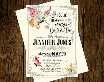 Butterfly Baby Shower Invitations Personalized Custom Printed Set of 12 Party Invites Vintage Ecru