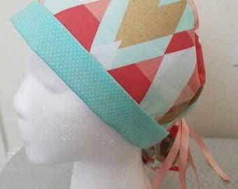 Pink Triangles Ponytail Scrub Cap
