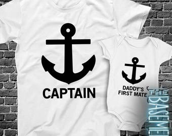 Captain first mate matching dad and kiddo t-shirt or bodysuit gift set - great gift for Father's Day MDF1-102