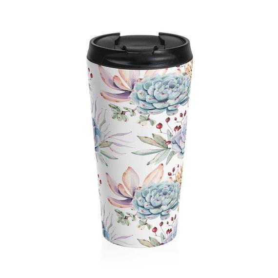 Travel Mug Succulent Pattern Stainless Steel Tumbler