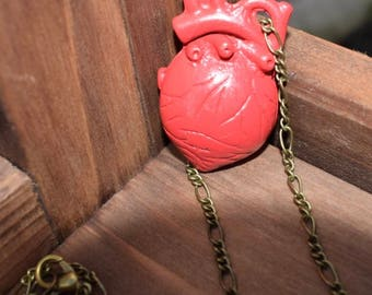 Red anatomical heart necklace. Heart Jewellery.