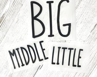 Big Middle Little Shirt Set - DIY Iron-On Transfers - Matching Sibling Shirt Set