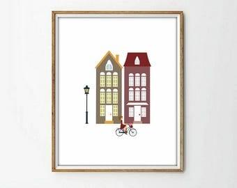 houses print, bicycle print, nursery decor, 4 SIZES INCLUDED,nursery print, kids art room, kids art decor, living room, modernist art