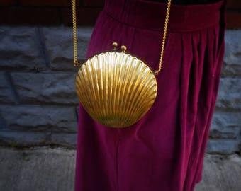 Vintage Art Deco Brass Clamshell Purse