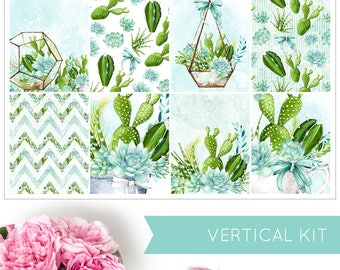 Sweet Succulent | VERTICAL KIT | Weekly Kit | Erin Condren | Planner Stickers