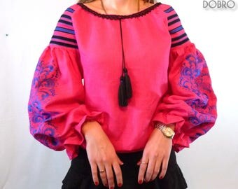 Vyshyvanka ukrainian embroidered boho blouse pink bohemian ethnic shirt Dobrovyshyvanka peasant top