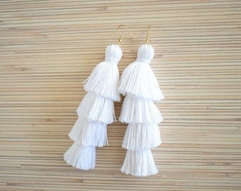 White Tassel Earrings Layered Tassel Earrings Tiered Tassel Earrings Four Layered Tassel Gold Statement Earrings Boho Fringe Earrings