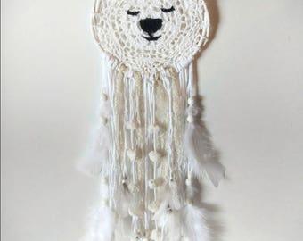 Polar bear decorative dream catcher