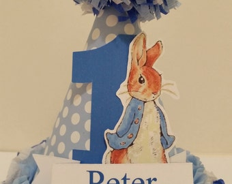 1st First Birthday Custom Made Personalized Peter Rabbit Party Hat Smash Cake High Chair Photo Shoot Birthday Decor