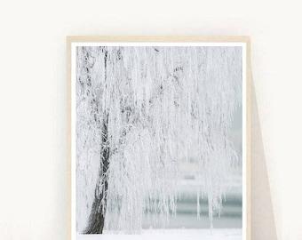 Winter Landscape, Tree Poster, Tree Prints, Landscape Print, Printable Art, Wall Art Prints, Instant Download, Home Decor, Wall Decor