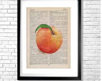 P FOR PEACHES - Vintage Style Watercolor Art Print Illustration Fruit Yellow Orange Pink On Old Book Page Background