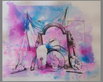 art, watercolor, Original Watercolor, pink watercolor, blue watercolor,  watercolor Composition  / acuarela, original acuarela