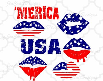 Patriotic Lips Svg, American Flag Lips, 4th of July US Flag Girl Lips Independence Day Fourth of July,Cricut Silhouette DXF EPS Png Reversed