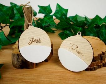 Personalised white timber Christmas Tree decoration - Christmas Bauble shape. FREE SHIPPING AU!
