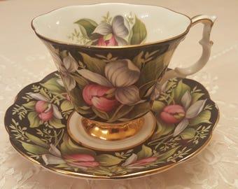 Royal Albert Provincial Flowers Series - Lady's Slipper, Prince Edward Island (PEI), Made in England, Black Teacup, Chintz, Gainsborough