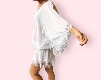 White fringe lace beach dress, BW10 white, beach dress, holiday, maternity wear, lounge wear, poolside party wear, party dress, fun dress