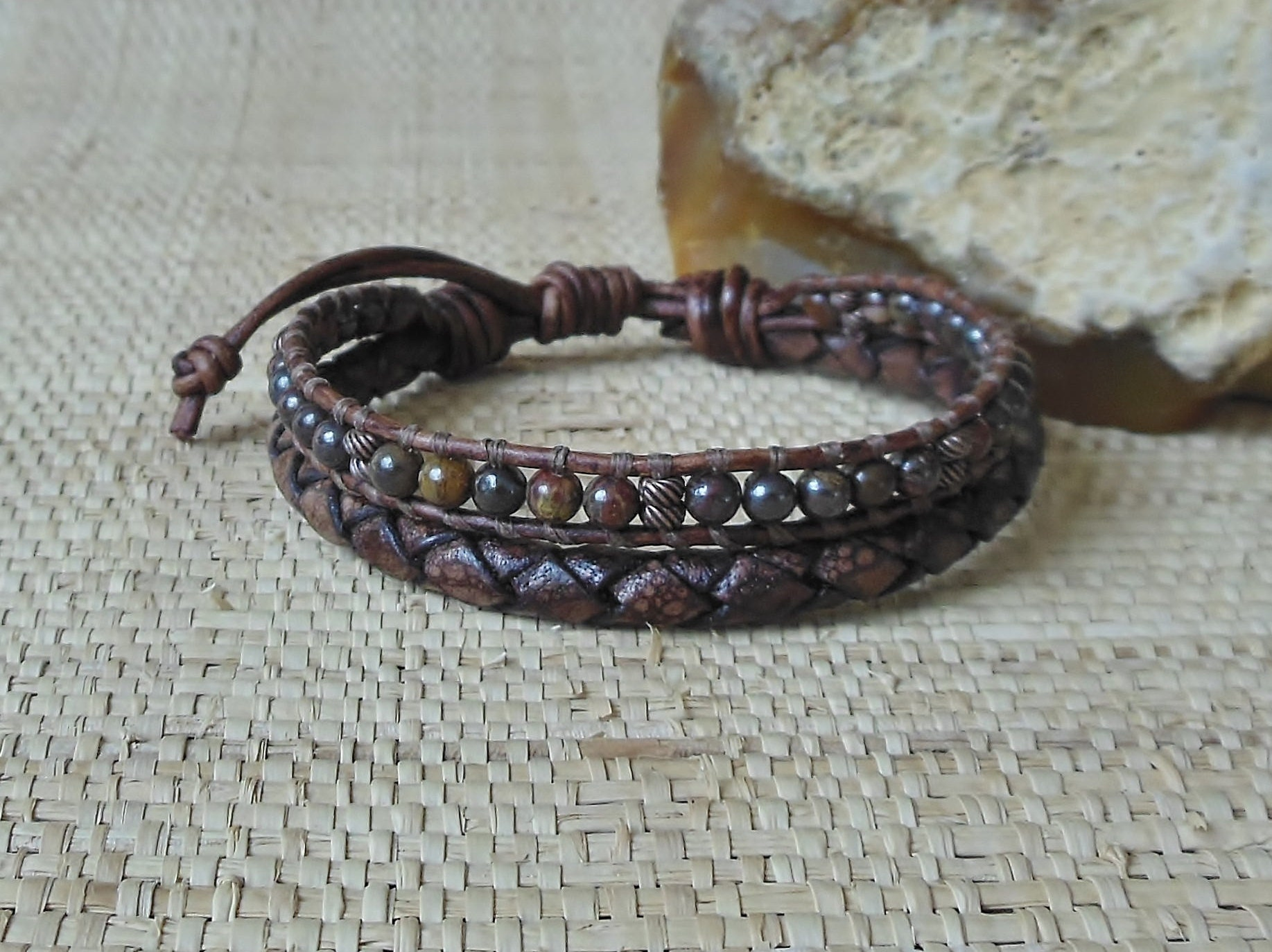 mens single wrap unisex bracelets leather gemstone larvakite pin bracelet masculine