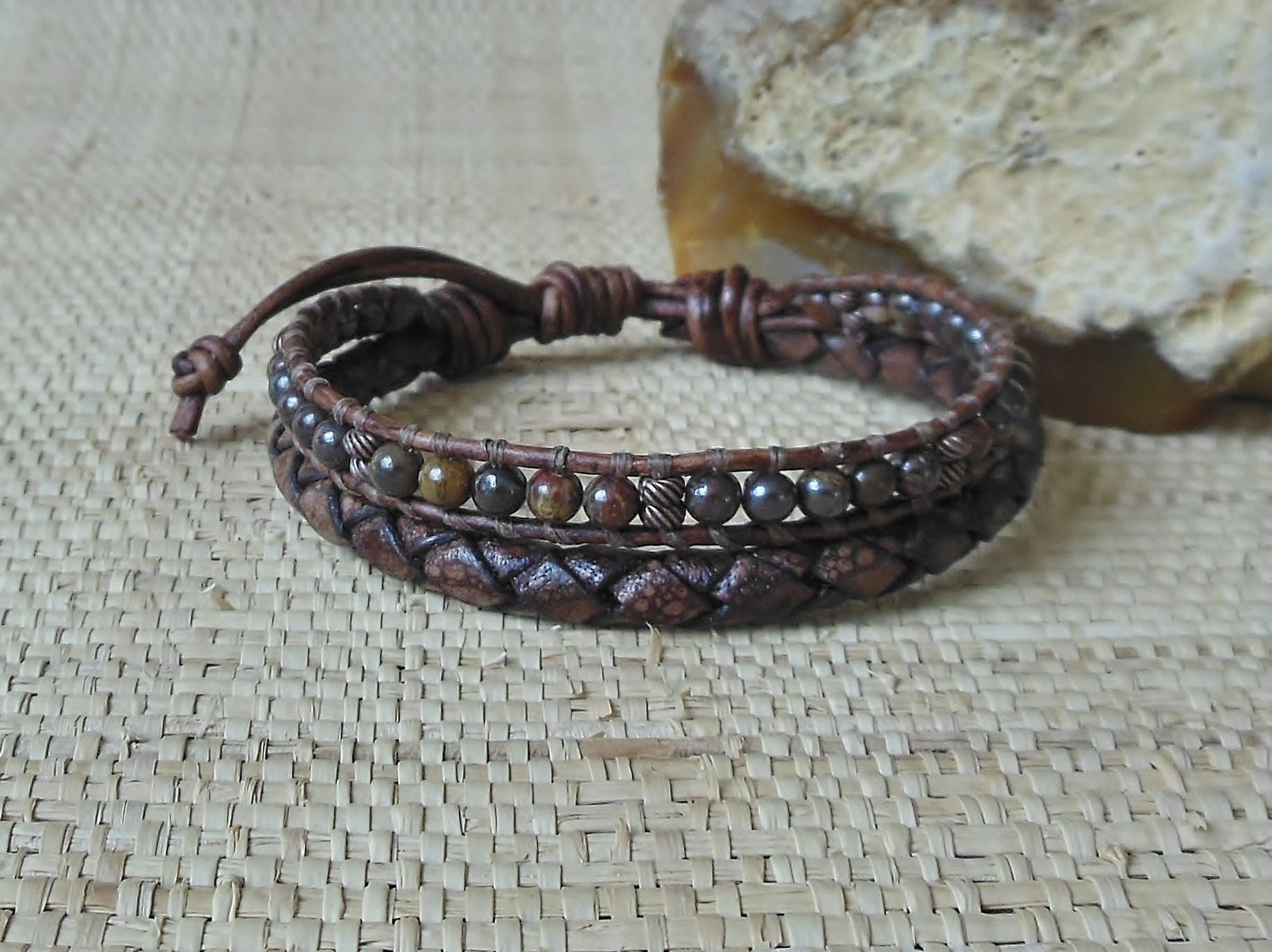 brown mens asp leather sterling masculine bracelet p braided silver dark