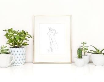 Fashion Art Print, Scandinavian Print, Haute Couture, Fine Art Illustration, Model Sketch