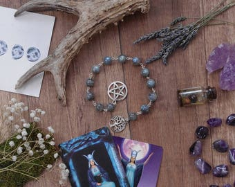 Labradorite Prayer beads Witch Beads Wicca Rosary Witch Rosary Ritual Prayer beads Pagan Prayer Beads Witches Ladder Meditation mala beads