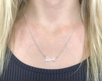 Silver Love Necklace, Love Script Necklace, Love Charm Necklace, Love Silver Necklace, Dainty Love Necklace, Simple Love Necklace