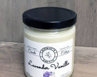 Organic Soy Candle Lavender Vanilla- Esential Oil Candle- Relaxing Aromatherapy- Natural Home Fragrance- Gift Ideas- Gifts for Mom
