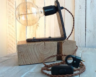 Lampe bois, fer forgé, naturel, kinfolk, steampunk, industriel, hipster, edison,campagne -Jean De La Citrouille-Livraison gratuite en France