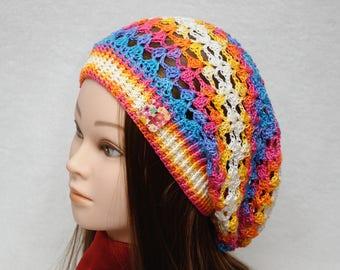 Slouchy hat Slouch Womens hats Teen hat Spring Hat Crochet Beanie Teen gift Teen girl gift Teen girl clothes Girlfriend Gift idea colorful