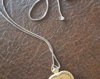 VINTAGE Samtron LCD Quartz Heart Watch Necklace / Watch Pendant / Gold Heart Pendant / Findings